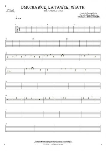 Slowly Walking - Tablature for guitar - melody line