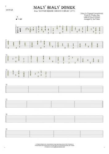 Mały biały domek - Tablature for guitar solo (fingerstyle)