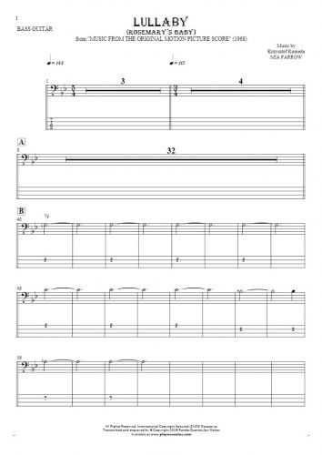 Lullaby - Rosemary's Baby - Notes and tablature for bass guitar