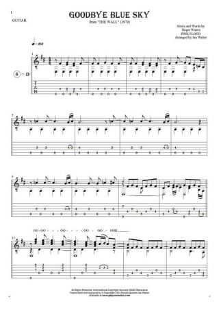 Goodbye Blue Sky - Notes, tablature and lyrics for guitar solo (fingerstyle)