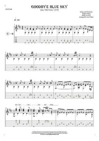 Goodbye Blue Sky - Nuty, tabulatura i tekst na gitarę solo (fingerstyle)