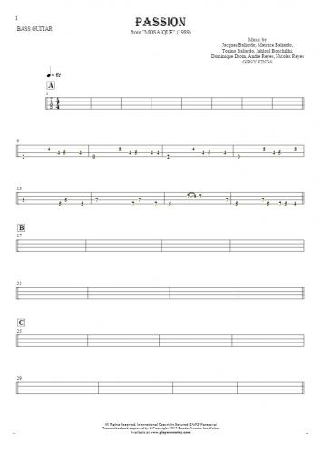 Passion - Tablature for bass guitar