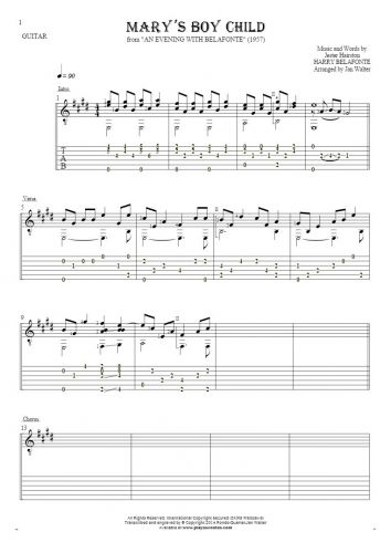 Mary's Boy Child - Notes and tablature for guitar solo (fingerstyle)