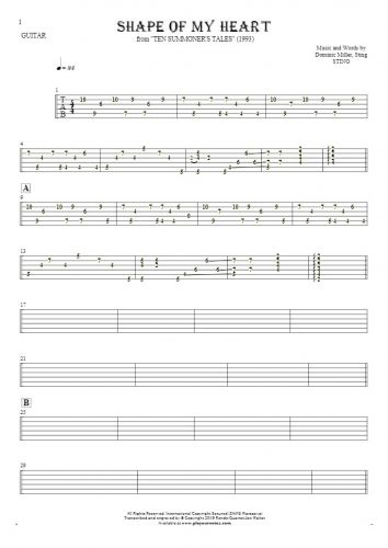 Shape Of My Heart - Tablature for guitar