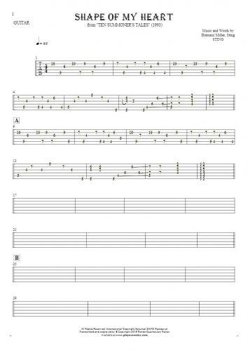 Shape Of My Heart - Tabulatur für Gitarre