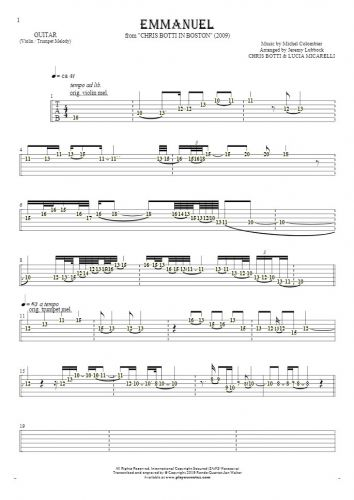 Emmanuel - Tablature (rhythm. values) for guitar