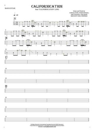 Californication - Tablature (rhythm values) for bass guitar