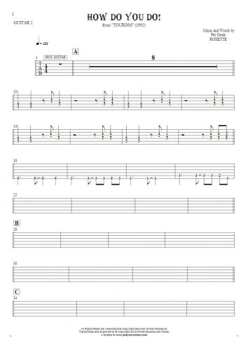 How Do You Do! - Tablature (rhythm values) for guitar - guitar 2 part