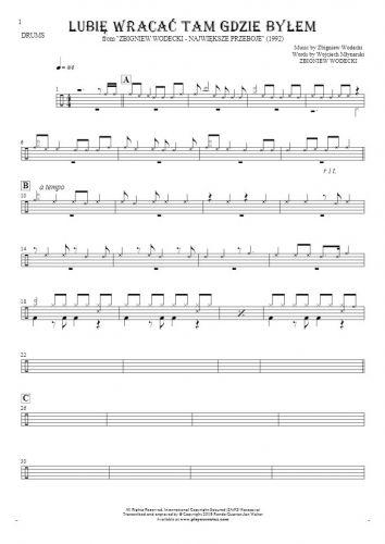 Lubię wracać tam gdzie byłem - Notes for drum kit