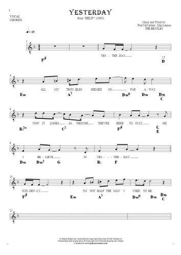 Yesterday - Noten Liedtekst und Akkorde für Solo Stimme mit Begleitung