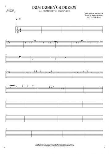 Dom dobrych drzew - Tablature for guitar - melody line