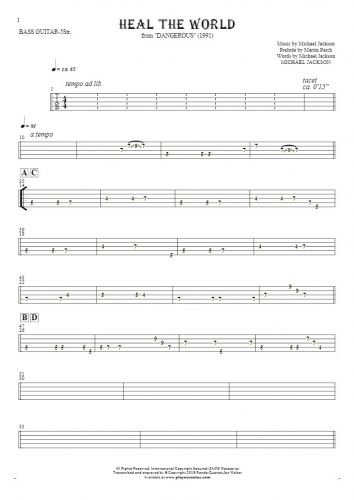 Heal The World - Tablature for bass guitar (5-str.)