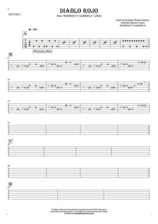 Diablo Rojo - Tablature for guitar - guitar 1 part