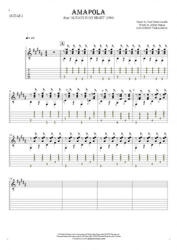Amapola - Notes and tablature for guitar - guitar 2 part