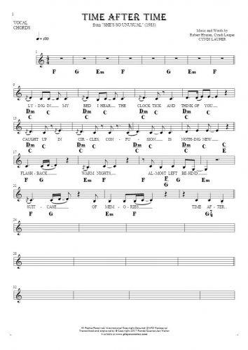 Time After Time - Noten, Liedtekst und Akkorde für Gesang mit Begleitung