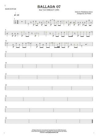 Ballada 07 - Tablature (rhythm values) for bass guitar