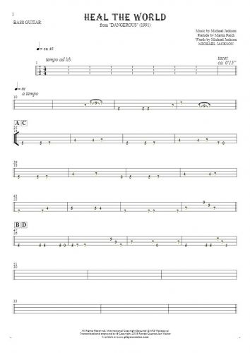 Heal The World - Tablature for bass guitar