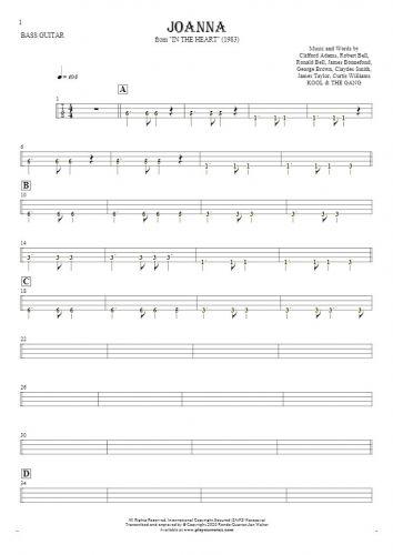Joanna - Tablature (rhythm. values) for bass guitar