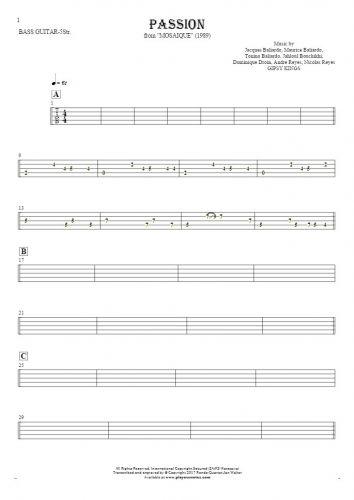 Passion - Tablature for bass guitar (5-str.)