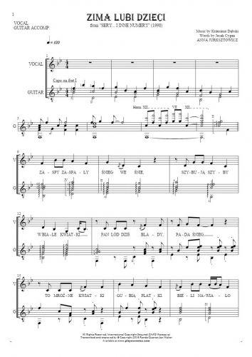 Zima lubi dzieci - Notes and lyrics for vocal with guitar accompaniment