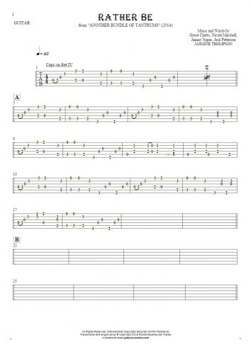 Rather Be - Tablature for guitar