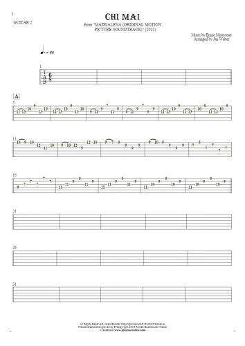 Chi Mai - Tablature for guitar - guitar 2 part
