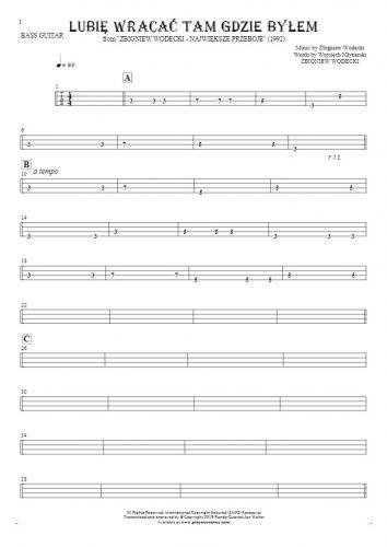 Lubię wracać tam gdzie byłem - Tablature for bass guitar