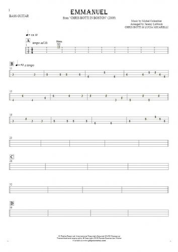 Emmanuel - Tablature for bass guitar
