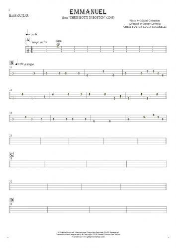 Emmanuel - Tabulatur für Bassgitarre