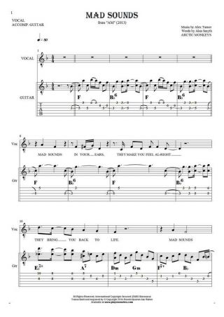 Mad Sounds - Notes, tablature, chords and lyrics for solo voice with guitar accompaniment