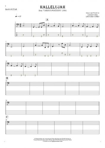 Hallelujah - Notes and tablature for bass guitar