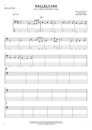 Hallelujah - Noten und Tabulatur für Bassgitarre