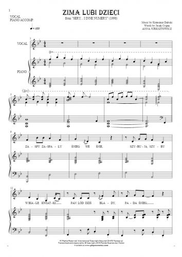 Zima lubi dzieci - Notes and lyrics for vocal with piano accompaniment