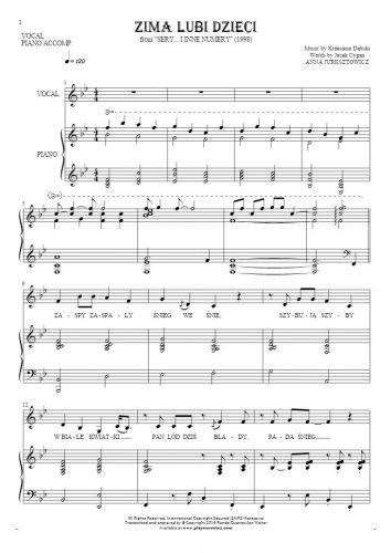 Zima lubi dzieci - Nuty i tekst na wokal z akompaniamentem fortepianu