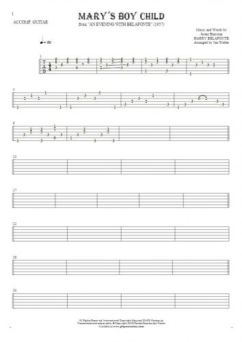 Mary's Boy Child - Tablature for guitar - accompaniment