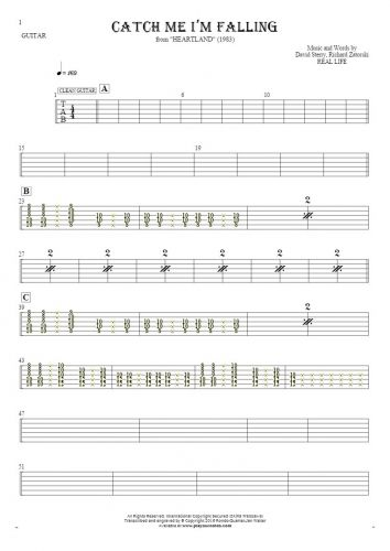 Catch Me I'm Falling - Tablature for guitar