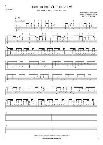 Dom dobrych drzew - Tablature (rhythm. values) for guitar - guitar 2 part