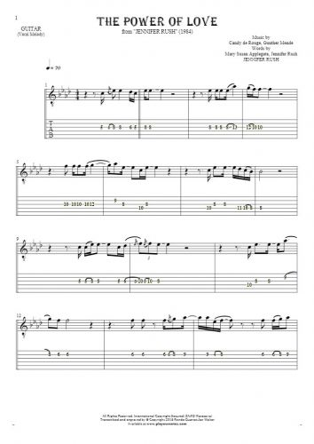 The Power Of Love - Notes and tablature for guitar
