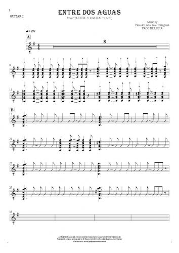 Entre dos aguas - Notes for guitar - guitar 2 part