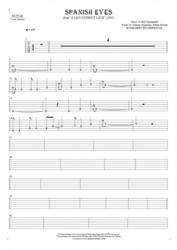 Spanish Eyes - Tablature (rhythm. values) for guitar - melody line