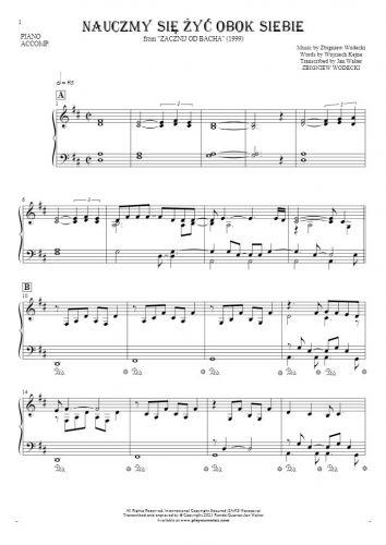 Nauczmy się żyć obok siebie - Notes for piano - accompaniment