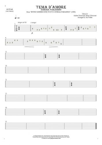 Love Theme (Cinema Paradiso) - Tablature for guitar - melody line
