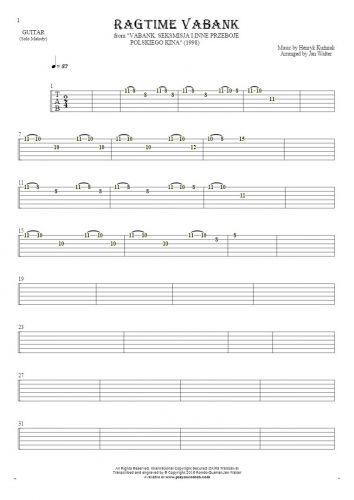 Ragtime Vabank - Tablature for guitar - melody line