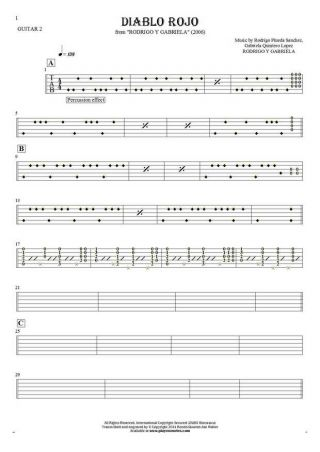 Diablo Rojo - Tablature for guitar - guitar 2 part