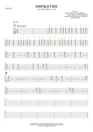 Inspiration - Tablature for guitar - guitar 3 part