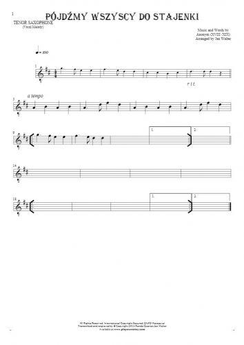 Pójdźmy wszyscy do stajenki - Notes for tenor saxophone - melody line