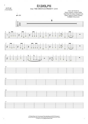 Rudolph - Tablature (rhythm. values) for guitar - melody line