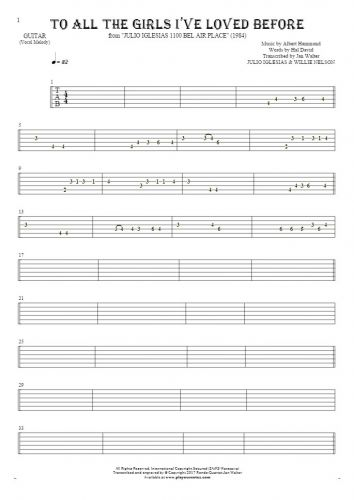 To All The Girls I've Loved Before - Tablature for guitar - melody line