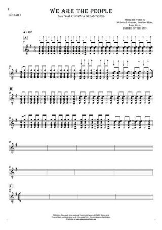 We Are the People - Notes for guitar - guitar 1 part