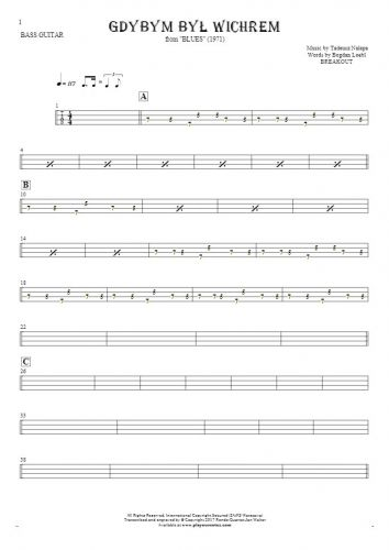 If I Were the Wind - Tablature for bass guitar